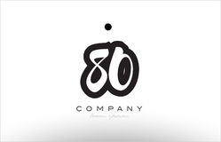 80 number logo icon template design. 80 number black white bold logo vector creative company icon design template hand written background Stock Illustration