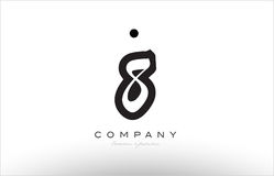 8 number logo icon template design. 8 number black white bold logo vector creative company icon design template hand written background Stock Images