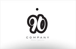 90 number logo icon template design. 90 number black white bold logo vector creative company icon design template hand written background Stock Photo