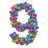 Number 9, from lottery balls, 3D rendering royalty free illustration