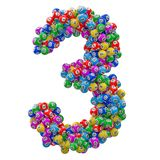 Number 3, from lottery balls, 3D rendering vector illustration