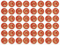 Number 2015 from a lotto object with clipping path Royalty Free Stock Photos