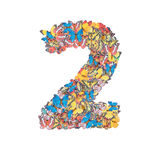 Number 2 made from butterfly Stock Photos