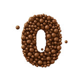 Number 0 made of chocolate bubbles, milk chocolate concept, 3d illustration. Number 4 made of chocolate bubbles, milk chocolate concept, 3d illustration stock illustration