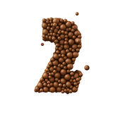 Number 2 made of chocolate bubbles, milk chocolate concept, 3d illustration.  stock illustration