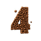 Number 4 made of chocolate bubbles, milk chocolate concept, 3d illustration.  vector illustration