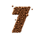 Number 7 made of chocolate bubbles, milk chocolate concept, 3d illustration.  royalty free illustration