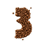 Number 3 made of chocolate bubbles, milk chocolate concept, 3d illustration.  royalty free illustration