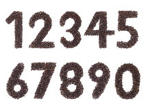 Number made with a coffee beans Stock Photos