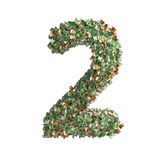 Number 2 made from Euro banknotes Royalty Free Stock Photos