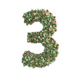 Number 3 made from Euro banknotes Royalty Free Stock Image