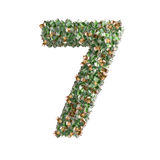 Number 7 made from Euro banknotes Royalty Free Stock Photos