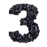 Number 3 made of keyboard buttons Royalty Free Stock Images