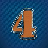 Number 4 made from leather on jeans background Royalty Free Stock Photos