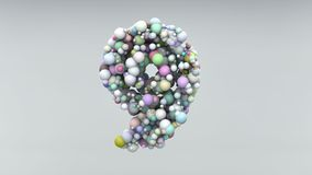 Number 9 made of plastic beads, purple bubbles, isolated on white, 3d render.  Royalty Free Stock Images