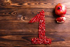 A number made of pomegranates seeds royalty free stock photography