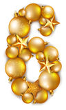 6 number made of shiny Christmas tree balls Stock Photo