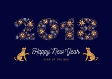 Number 2018 made of snowflakes New Year poster. Year of The Dog, Chinese Zodiac Dog. Vector illustration. Number 2018 made of snowflakes New Year poster. Year of Stock Photos