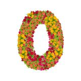 Number 0 made from Zinnias flowers. Isolated on white background.Colorful zinnia flower put together in number zero shape with clipping path stock images