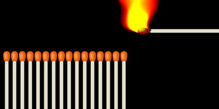 Number of matches. A number of matches and lit one burning match in front of a chain reaction of combustion. Illustration in vector format with a black Royalty Free Stock Images