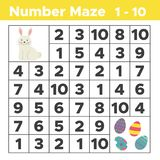 Number maze, mathematical puzzle game for children. Help bunny find Easter eggs. Counting from one to ten. Worksheet for preschool and school kids. Vector Stock Images
