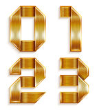 Number metal gold ribbon - 0,1,2,3 Stock Images
