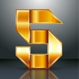 Number metal gold ribbon - 5 - five Stock Photo