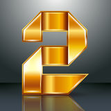 Number metal gold ribbon - 2 - two Royalty Free Stock Photography
