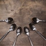 A number of metal spoons Royalty Free Stock Photo
