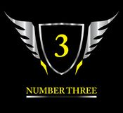 3, number 3, number three, Metallic Winged Shield. 3, number `3` on Metallic Winged Shield, trio, tri symbol Royalty Free Stock Photos