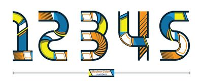 Number modern color style in a set 12345. Vector graphic numbers in a set 1,2,3,4,5, with modern color style Stock Image