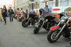 Number of motorcycles along the street. Royalty Free Stock Photography