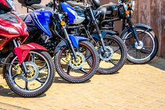 A number of motorcycles for sale. Motorcycle sports_ stock photography