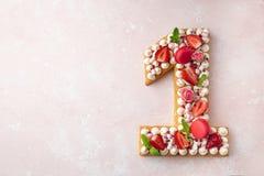 Number  1 naked honey cake for Birthday, pink background
