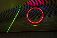 Number 10 neon. In industrial setting Royalty Free Stock Photography