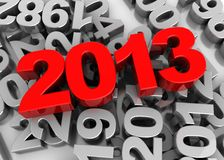 Number of  New year. 3d image, number of new year -2013 lying on grey numbers Stock Photos