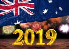 Number 2019, new year, behind the flag of Australia, background fireworks. National new year celebration stock illustration