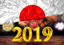 Number 2019, new year, behind the flag of Japan, background fireworks. National new year celebration royalty free illustration
