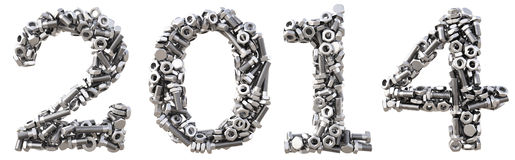 Number. New 2014 year from the nuts and bolts. isolated on white Stock Images