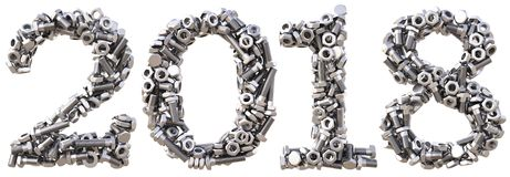 Number 2018. New 2018 year from the nuts and bolts. isolated on white. 3D illustration Stock Image