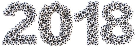 Number. New 2018 year from the soccer balls. isolated on white. 3D illustration Stock Photo