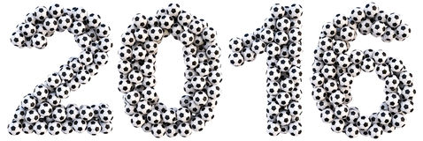 Number. New 2016 year from the soccer balls.  on white Royalty Free Stock Photo