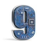 Number 9 nine, Alphabet in circuit board style. Digital hi-tech royalty free illustration