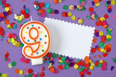Number nine birthday candle Stock Photos