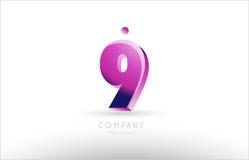 number 9 nine black white pink logo icon design Royalty Free Stock Images