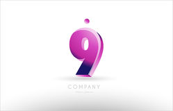 number 9 nine black white pink logo icon design Stock Image