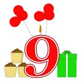 Number Nine Candle Shows Party Decorating Royalty Free Stock Photos