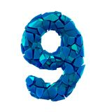 Number nine 9 made of broken plastic blue color isolated white background royalty free illustration