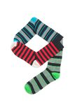 Number nine. Designed from colourful socks. Red-coloured socks in lines are sticking out Stock Photography