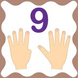 Number 9 nine, educational card,learning counting with fingers. Number 9 nine, educational card, learning counting with fingers of hand, mathematics. Vector stock illustration
